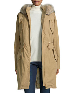 Fur-Lined Anorak Jacket, Fawn
