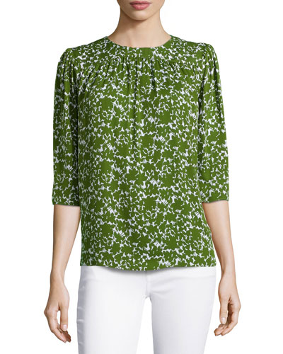 Gathered Floral-Print Blouse, Optic White/Grass
