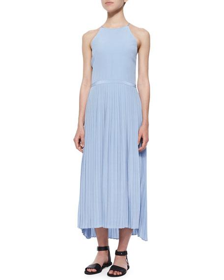 Tibi Halter-Neck Plisse-Skirt Dress, Cirrus Blue
