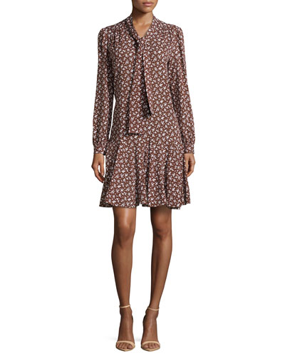 Floral-Print Front-Tie Dress, Nutmeg/White