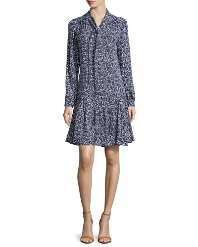 Floral-Print Front-Tie Dress, Optic White/Indigo