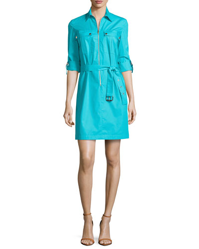Zip-Front Shirtdress, Aqua