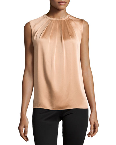 Charm Pleated-Front Top, Suntan