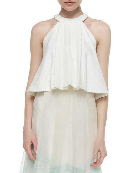 Medeia Pleated Flared Top, White