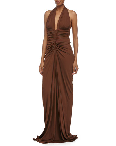 Sleeveless Ruched Gown, Nutmeg