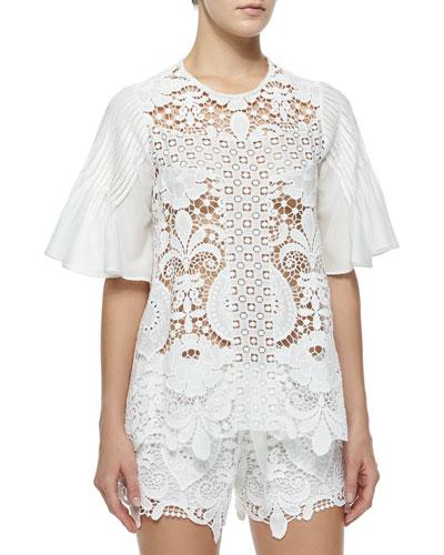 Emmanuel Crochet Bell-Sleeve Top, White