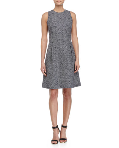 Sleeveless Bell-Skirt Dress, Indigo/White