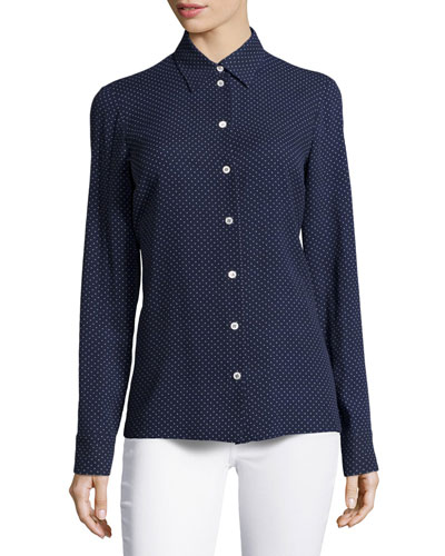 Mini Dot-Print Slim Shirt, Indigo/White