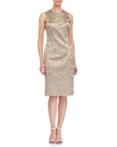 Sleeveless Mini-Dot Print Sheath Dress, Sand/White