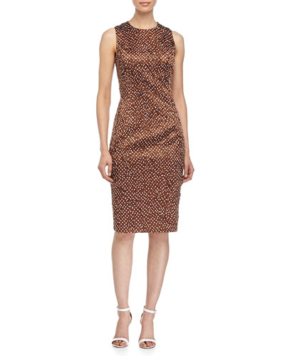 Sleeveless Mini-Dot Print Sheath Dress, Nutmeg/White