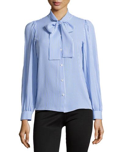 Stripe Tie-Neck Blouse, Oxford/White