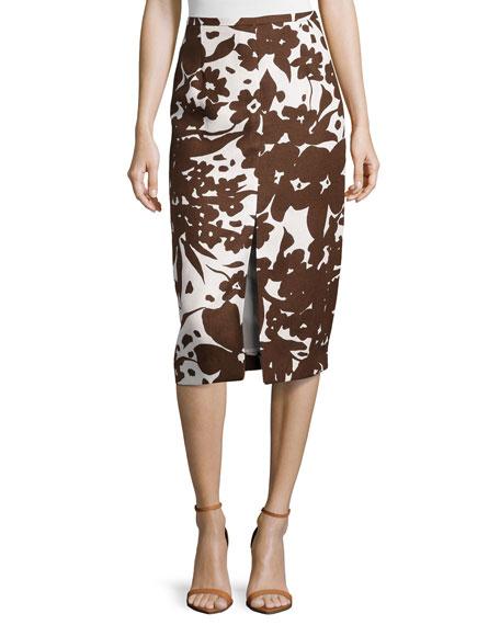 Printed Front-Slit Pencil Skirt, Optic White/Nutmeg
