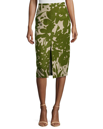 Printed Front-Slit Pencil Skirt, Hemp/Grass
