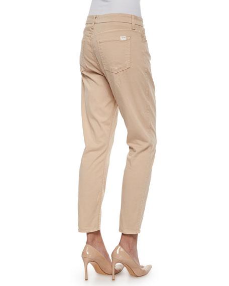 Sateen Cropped Skinny Jeans, Khaki