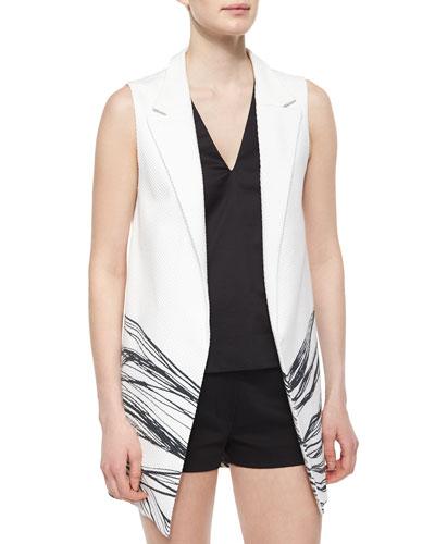 Aguilar Wave-Print Long Vest, Black/White