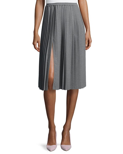 Allover Pleated Midi Skirt, Banker Melange