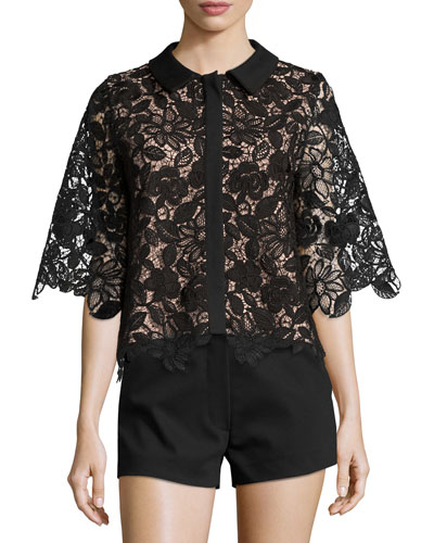Tati Button-Front Lace Top, Black