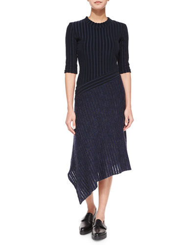 Half-Sleeve Striped Hybrid Knit Asymmetric Dress
