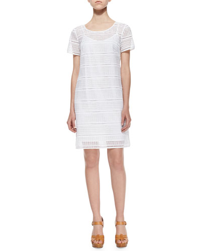Short-Sleeve Eyelet Tee Dress