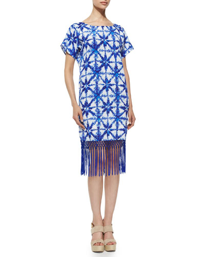 Glazed Tile-Print Short-Sleeve Fringe-Hem Dress