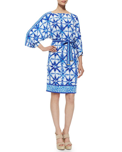 Glazed Tile-Print Jersey Dress