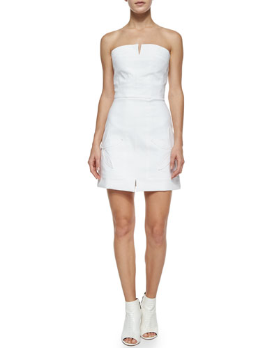 Strapless Cotton-Stretch Date Dress