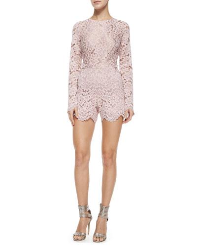 Long-Sleeve Lace Short Romper