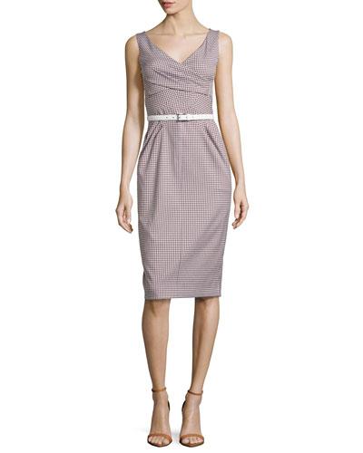 Faux-Wrap Sheath Dress, Optic White/Nutmeg
