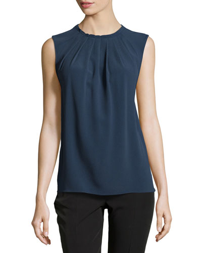 Sleeveless Maro Pleated Top, Indigo