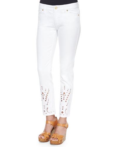 Eyelet-Cuff Skinny Cropped Jeans