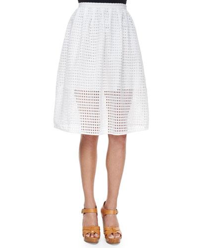 Eyelet Full Skirt, White