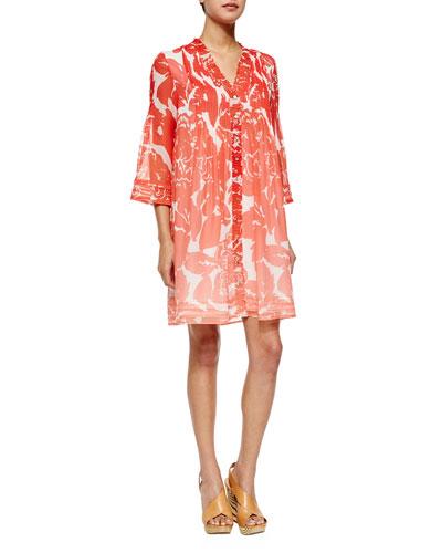 Layla Smocked-Bib Dress, Rose Ombre Coral