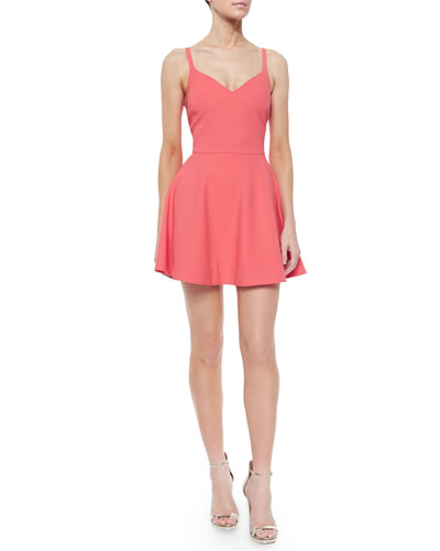 Delia Fit-and-Flare Sweetheart Dress, Bellini