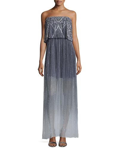 Marilla Embellished Strapless Maxi Dress, Soft Gray