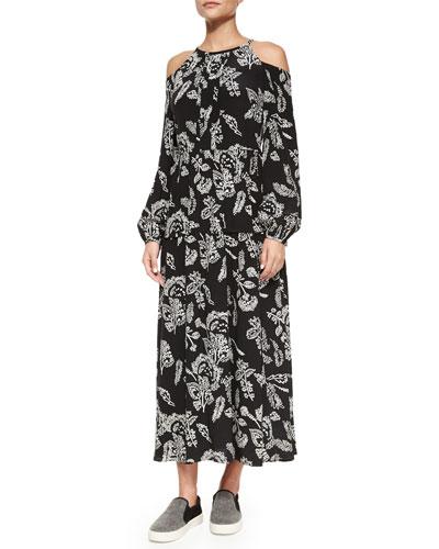 Long Floral-Print Silk Cold-Shoulder Dress