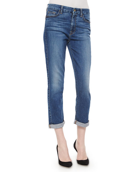 JEN7 Lavierra Wash Cropped Roll-Cuff Jeans, Navy