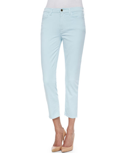 Skinny Sateen Cropped Jeans, Light Blue