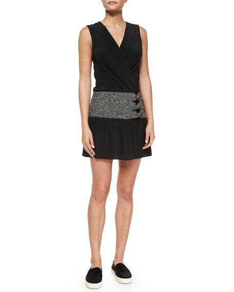 Thakoon Addition Sleeveless Side-Twist Dress, Black/White
