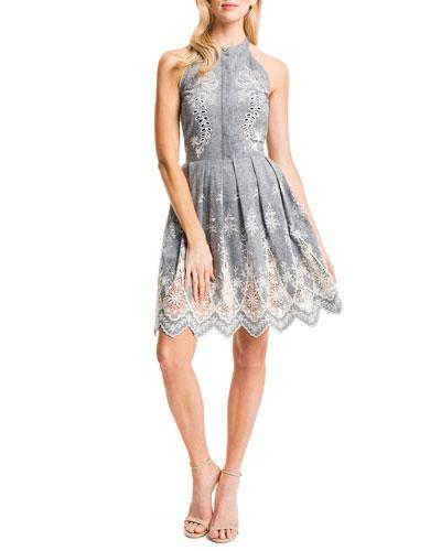 Judith Sleeveless Embroidered Pleated-Skirt Halter Dress