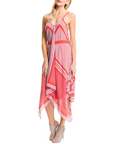 Tarianna Handkerchief-Hem Dress, Tomato