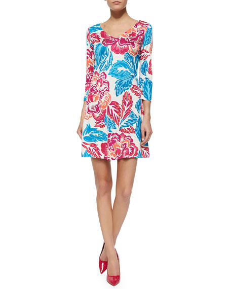 Diane von Furstenberg Kaden Giant Floral 3/4-Sleeve Dress
