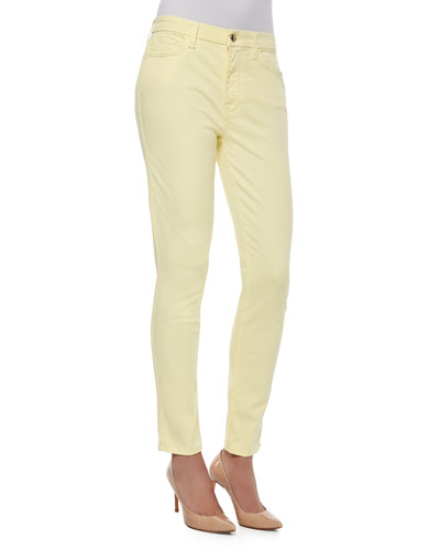 High-Rise Sateen Skinny Jeans, Yellow