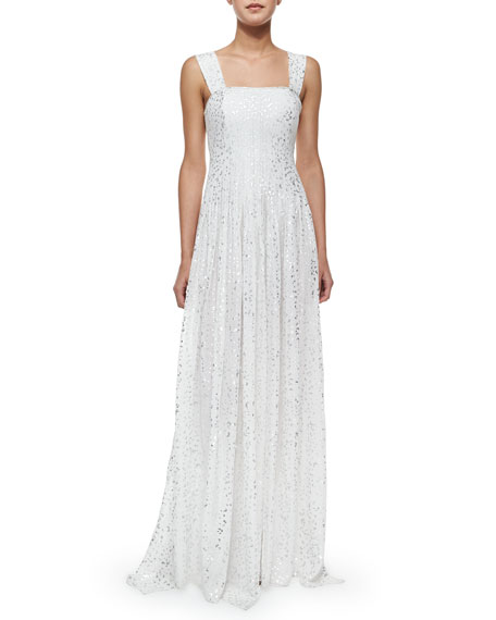 Diane von Furstenberg Lillie Flutter Foil Maxi Dress
