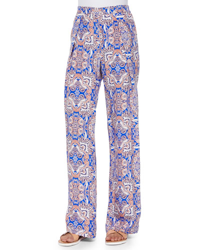 Rocco Wide-Leg Medallion Pants, Brocatto