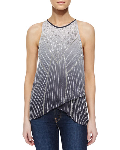 Sweden Beaded Ombre Blouse, Gray