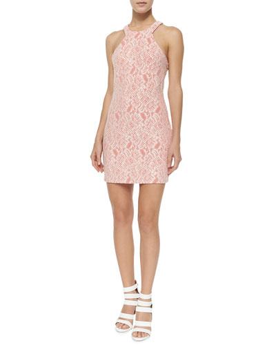 Amenia Floral-Jacquard Sheath Dress, Pink