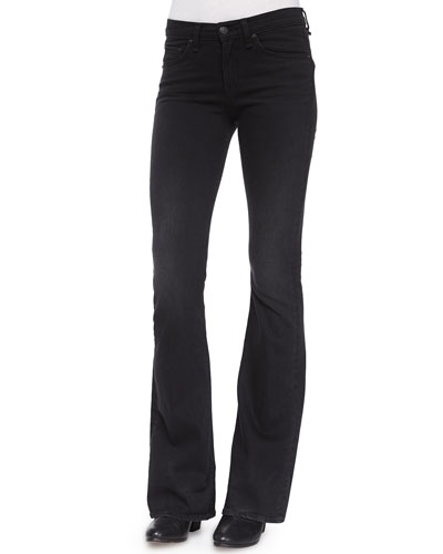 High-Rise Bell-Bottom Jeans, Washed Black