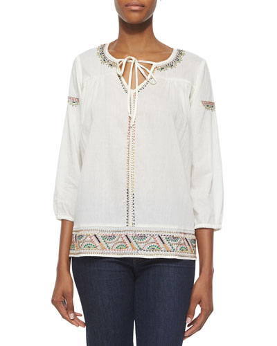 Floral-Trim Woven Blouse, Off White
