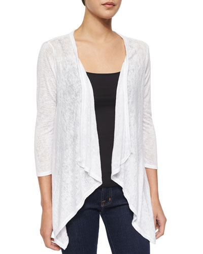 Sheer Draped-Front Slub-Knit Cardigan, White