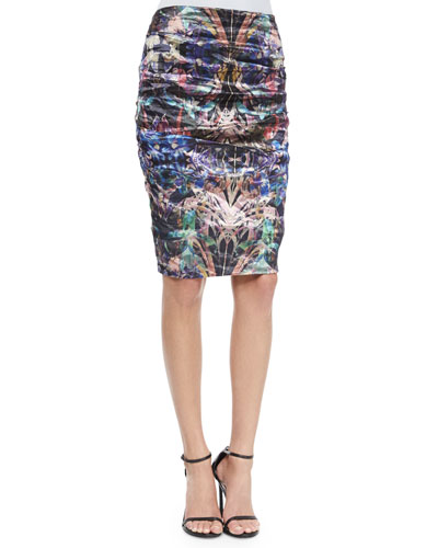 Ruched Floral-Print Pencil Skirt, Multicolor